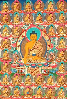 the 35 Confession Buddhas #thangka. More Buddha thanka paintings at traditionalartofnepal.com