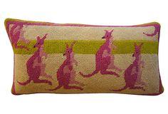 Kangaroos Needlepoint Pillow on OneKingsLane.com