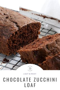 An easy and delicious chocolate zucchini loaf, that is wonderfully moist and perfectly chocolatey. Double the recipe to make 2 loaves, a 9x13-inch cake or bundt cake. Delicious Chocolate, Chocolate Recipes, Chocolate Zucchini Loaf, Grilled Vegetable Salads, Afternoon Tea Recipes, Mini Chocolate Chips, Baked Goods, Food To Make, Breads