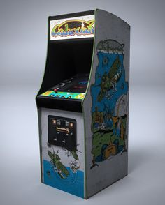 1981: Galaxian by Midway. Galaxian was the benchmark game of the 80's. It's innovations were repeated in many games of that era. Did you know this is the first game where the sprites, that's the graphics, were multi coloured. This adds depth to them, giving each one its own distinctive personality. Clic for a video.