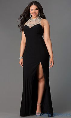 Floor Length Illusion Back Plus Dress at SimplyDresses.com