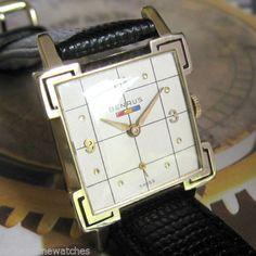 Mens-NICE-1950s-Benrus-14K-SOLID-GOLD-Fancy-Lug-ENAMEL-Case-Vintage-Swiss-Watch