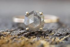 Natural Grey Rose Cut Hexagon Diamond Ring