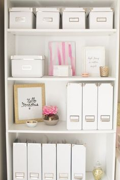 Magazine holders can serve to store publications and papers, but you can conceal other shelf clutter in these vertical storage boxes as well.