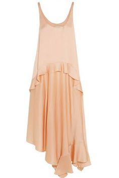 STELLA MCCARTNEY WOMAN YENNA TIERED SILK-SATIN DRESS PEACH. #stellamccartney #cloth #