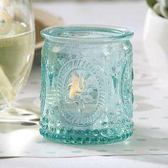 Vintage' Blue Glass Tealight Holder