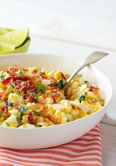 All organic Creamy Corn & Zucchini — Fresh corn kernels. Mexican-style cheeses, sour cream and bacon. Corn Recipes, Kraft Recipes, Side Dish Recipes, Vegetable Recipes, Vegetable Bake, Tostada Recipes, Shrimp Recipes, Dinner Recipes, Kraft Foods