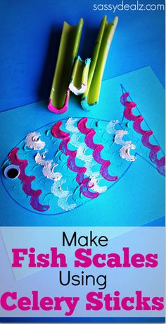 Fish Craft for Kids using celery sticks to make the scales.  Fun way to introduce food through play for kids with food aversions. Visit pinterest.com/arktherapeutic for more #feedingtherapy ideas