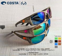 Costa Camo Sunglasses come with a variety of lens color options. #Realtree