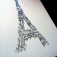 Eiffel Tower in Calligraphy - custom piece by Curlicue Designs. www.curlicuedesigns.com