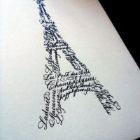 Eiffel Tower in Calligraphy - custom piece by Curlicue Designs. www.curlicuedesigns.com