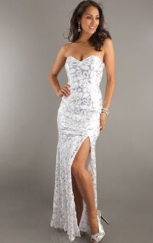 White Sheath/Column Strapless,Sweetheart Natural Long/Floor-length Sleeveless Sequins,Split Front Lace-up Prom Dresses Dress