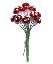 12 Small Spun Cotton Mushrooms from Germany ~ 10mm Metallic Dark Red