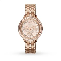 180132d48d11 Armani Exchange Ladies Active multifunction watch. Round rose gold IP  plated case with glass crystal