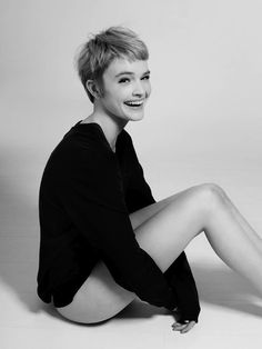 Short Hair, Pixie, Blonde, Loose Sweater / Black and White Photo