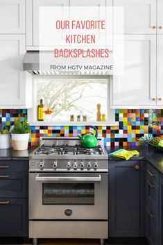 Colorful backsplash trends for kitchens from HGTV.