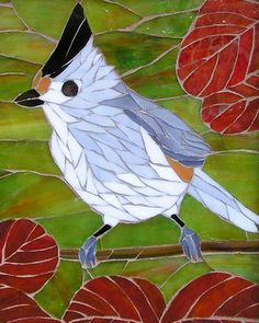 Crested Titmouse, Brookside Mosaics Mosaic Garden Art, Mosaic Wall Art, Mosaic Diy, Mosaic Crafts, Mosaic Projects, Mosaic Glass, Stained Glass Birds, Stained Glass Designs, Mosaic Designs