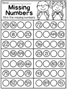 Grade Numbers and Place Value Worksheets Missing numbers worksheet for first grade students. Students fill in the missing numbers to complete the number sequence. Numbers to Kindergarten Learning, Preschool Math, Preschool Worksheets, Teaching Math, Teaching Geography, Printable Worksheets, Maths, First Grade Math Worksheets, 1st Grade Math
