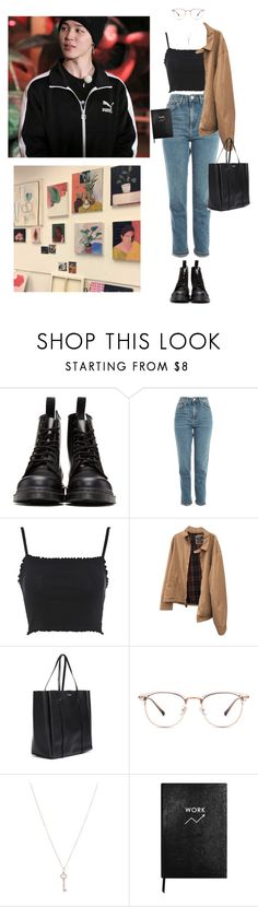 """College #152 Jimin"" by fadedhuman ❤ liked on Polyvore featuring Dr. Martens, Topshop, Polo Ralph Lauren, Balenciaga, Tiffany & Co., Sloane Stationery and plus size clothing"