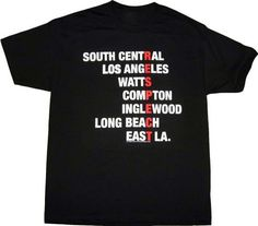"""ISB Products Ill Street Blues Respect Cali LA Compton T-Shirt - Large - Black. A great item and gift for Cali enthusiasts around the world!. 100% Pre-Shrunk Cotton with Silk-Screening Print. Sizes Medium thru 2X in the Black Color does not have the Respect So-Cal logo on the back across the shoulder. Size Chart (Chest Width) Small-18"""", Medium-20"""", Large-22"""", XL-24"""", 2X-26"""", 3X-28"""". Very Unique and Retro!. High Quality and Durable Tee!."""