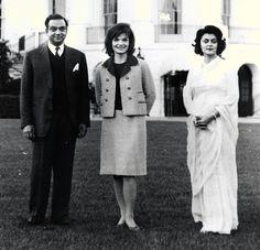 Avec le Maharadja et Maharani of Jaipur à la Maison blanche, le 24 octobre 1962