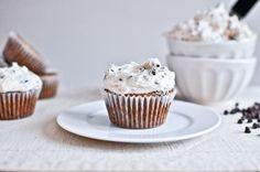 chocolate chip oatmeal cupcakes with Cinnamon Sugared Chocolate Chip Frosting..I ate one and about died!
