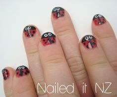 Nailed It NZ: Nail art for kids - ladybugs, bright brushstrokes and roses. http://www.naileditnz.com/2013/10/nail-art-for-kids-ladybugs-bright.html