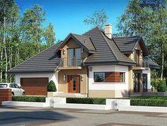 Projekat kuće sa potkrovljem i garažom – Village House Design, Village Houses, Design Case, Home Fashion, Outdoor Structures, Cabin, Mansions, House Styles, Outdoor Decor