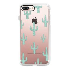 Mint Green Desert Cactus Chic Transparent Case 010 - iPhone 7 Plus... (125 BRL) ❤ liked on Polyvore featuring accessories, tech accessories, phones, iphone case, iphone cover case, iphone cases, transparent iphone case, mint iphone case and clear iphone case