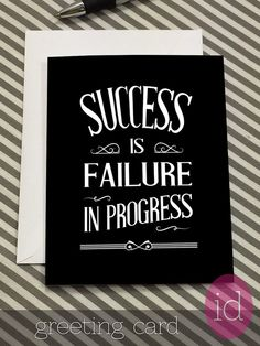 """Encouragement Card-Key To Success Quote """"Success Is Failure In Progress"""" Inspirational Quote Card-Thoughtful Gift Notecard-Unique Gift Card"""