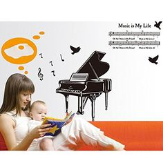 Black Music SymbolPiano Pattern Bedroom Study Room Removable Wall Sticker Decor NN *** Check out the image by visiting the link.