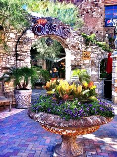 The Oasis on Lake Travis, Austin, TX Inspiration - flowers, stone arch entry, birdbath planter, pavers