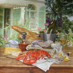 АКВАРЕЛЬ: художница Виктория Кирьянова   Обед в саду, 2013