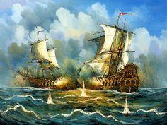 Sea Battle. 40cm*50cm(16in*20in) $85.00  50cm*60cm(20in*24in) $100.00  60cm*90cm(24in'*36in) +$120.00