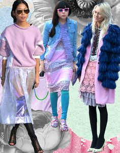 Street style stars turn pastels into a textures mash-up at fashion week