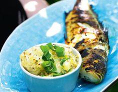Grillatut ahvenet 1. Suomusta ja perkaa kalat. Mausta suolalla ja aseta kalat halsteriin. Kypsennä grillissä, avotulella tai hiilloksella. 2. Sivele kypsille kaloille öljykastiketta.