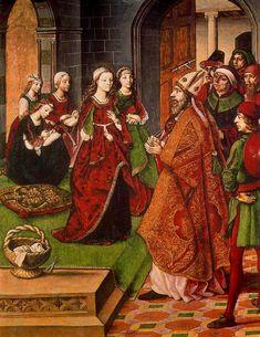 """Pedro Berruguete:  """"La Virgen y los pretendientes"""" Paredes de Nava. Iglesia de Santa Eulalia. (c. 1485-90?)"""
