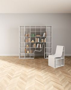 Bookchair, a piece of furniture designed by Sou Fujimoto, doubles as shelving and seating. The bookshelf chair is composed of a bookcase and matching chair. Contemporary Furniture, Cool Furniture, Furniture Design, Furniture Ideas, Fujimoto Sou, Tyni House, Multipurpose Furniture, Deco Design, My New Room