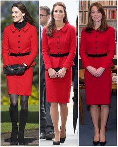 Kate's beautiful Luisa Spagnoli suit has been worn four times (three of them visibly); The first was while visiting her old university of St Andrews in early 2011, then when paying respects to the victims of the Christchurch earthquake in NZ 2014, late last year when she became the Honorary Air Commandment of the RAF Air Cadets and finally when she attended the Queen's Christmas lunch last year (only pics of her in the car). When she wore it in 2011, the hemline was shorter and it was still…