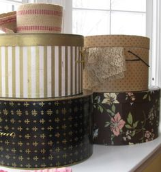 How to decorate hat boxes.  Wonderful  blog!