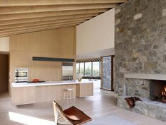 Much of the Sun Valley house is enclosed in masonry walls, exposed inside and out, made of a local granite from southern Idaho. Joy Kitchen, Masonry Wall, Sun Valley, Kitchen Interior, Granite, Geometry, Interior Design, Inspiration, Furniture