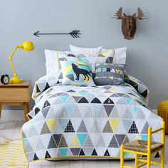 For boys room - Adairs Kids Boys Tonto - Bedroom Quilt Covers & Coverlets - Adairs Kids online Modern Kids Beds, Modern Kids Bedroom, Boy Room, Kids Room, Child Room, Adairs Kids, Blue Rooms, Kids Pillows, My New Room