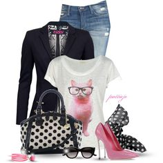 That Cat by rockreborn on Polyvore featuring Versus, Joe's Jeans, Casadei, Brahmin, Chan Luu and Witchery