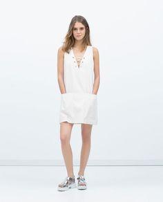 Image 1 of DRAWSTRING NECKLINE DRESS from Zara