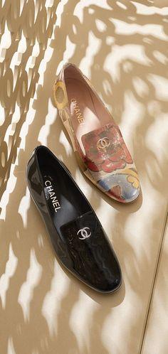 Printed lurex crepe loafers embellished... - CHANEL