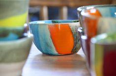 compotera turquesa y naranja