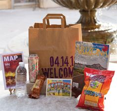 Stylish but not spendy welcome gift bag- the hand stamping is easy! Phoenix Bride & Groom Magazine, Sedona Bride Photographers, Victoria Canada Weddings and Events #welcomebag #weddinggift #hotelbag