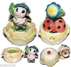 The rare rear (and other) view of this popular ladybug and flower salt and pepper set - Japan