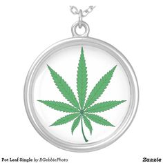 Pot Leaf Single Round Pendant Necklace $37.95 Nine point Marijuana leaves. Cannabis is recognized legally in several US states, mostly for medical purposes, but some are recognizing recreational use as well. Pot smokers and medical patients will enjoy these products! Visit our profile for links to our other Cannabis and Pot 420 designs! #Zazzle #Marijuana #Cannabis #MMJ