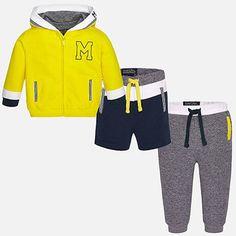 Bermuda, calça e casaco com capucho bebé menino Canario - Mayoral